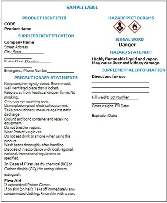 OSHA's SDS sample form