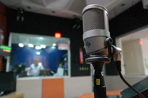 A microphone in a recording studio.